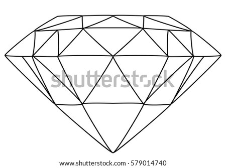 Vector Illustration Diamond Line Drawing Stock Vector (Royalty Free
