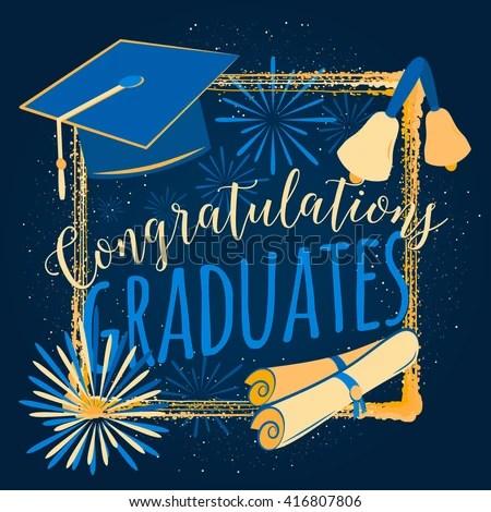 Vector Illustration Graduation Background Congratulations Graduates