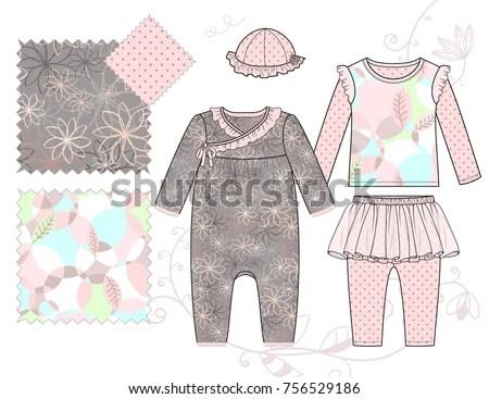 Vector Illustration Infant Baby Girls Fashion Stock Vector (Royalty