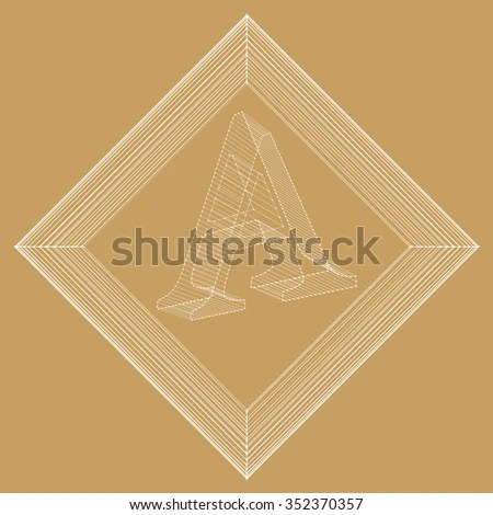 Vector Illustration Letter A Fonts Mesh Stock Vector (Royalty Free