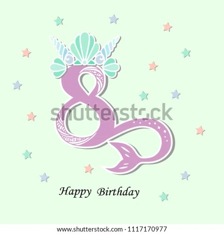 Vector Illustration Number Eight Mermaid Tail Stock Vector (Royalty