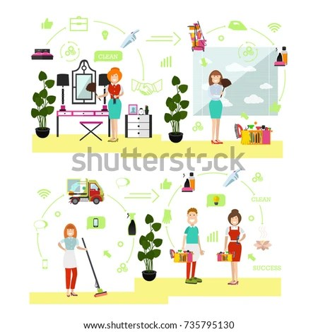 Vector Illustration Professional Cleaning Ladies Cleaner Stock