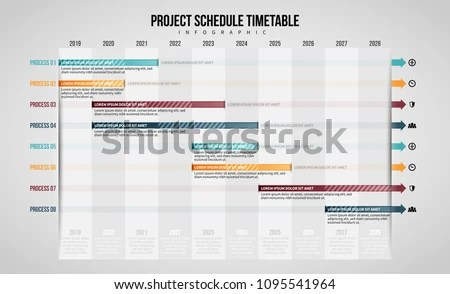 Vector Illustration Project Schedule Timetable Infographic Stock