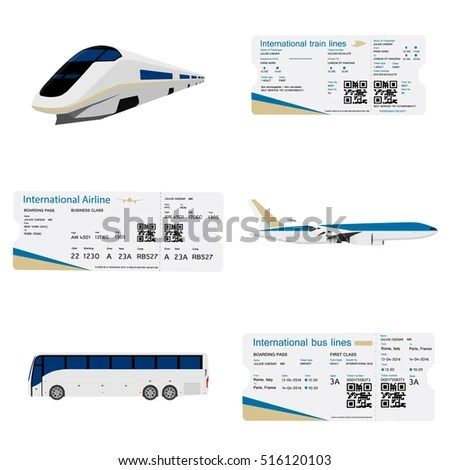 Vector Illustration Set Bus Ticket Airline Stock Vector (Royalty