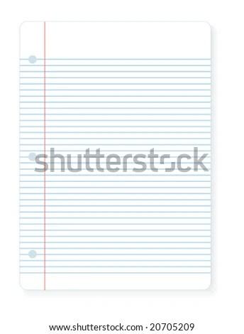 Vector Illustration Sheet Notebook Lined Paper Stock Vector (Royalty