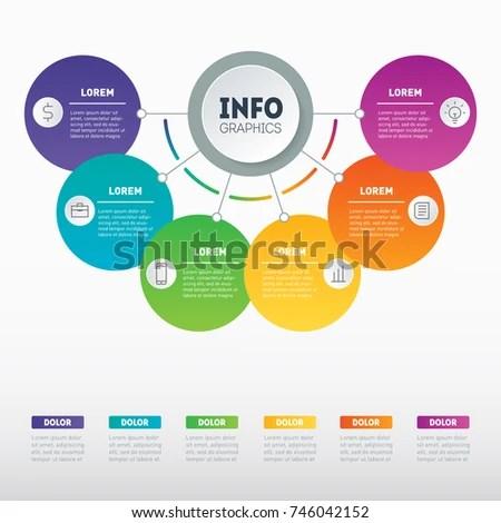 Vector Infographic 6 Processes Investor Presentation Stock Vector