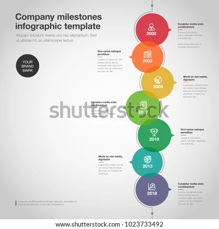 Vector Infographic Company Milestones Timeline Template Stock Vector