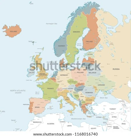 Vector Map European Continent Countries Capitals Stock Vector