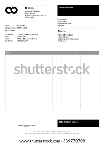 Vector Minimalist Invoice Business Template Stock Vector (Royalty
