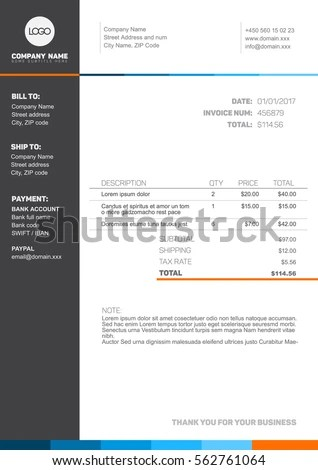 Vector Minimalist Invoice Template Design Your Stock Vector (Royalty