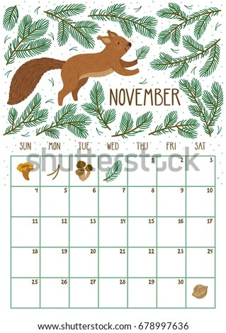 Vector Monthly Calendar Cute Squirrel November Stock Vector (Royalty
