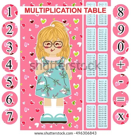 Vector Multiplication Table Printable Bookmark Poster Stock Vector