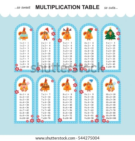 Vector Multiplication Table Printable Bookmarks Stickers Stock