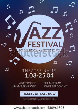 Vector Musical Flyer Jazz Festival Music Stock Vector (Royalty Free