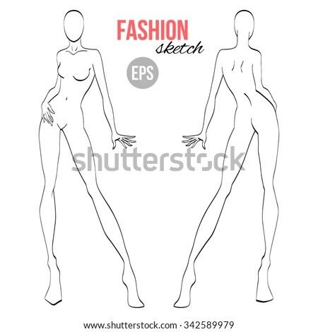 Vector Outline Girl Model Template Fashion Stock Vector (Royalty