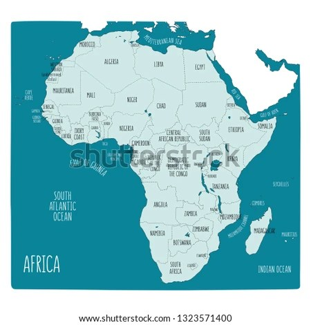 Vector Political Map Africa Hand Drawn Stock Vector (Royalty Free