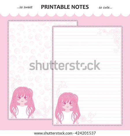 Vector Printable Letter Paper Stationery Flat Stock Vector