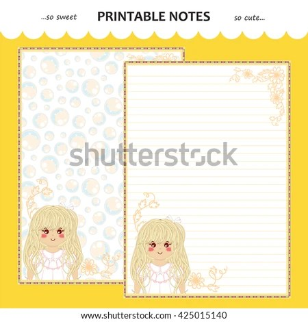 Vector Printable Letter Paper Stationery Flat Stock Vector (Royalty