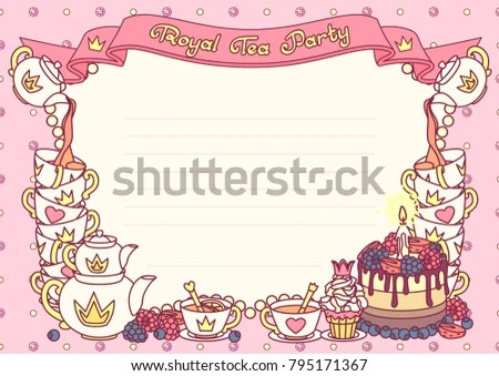 Vector Royal Tea Party Invitation Template Stock Vector (Royalty