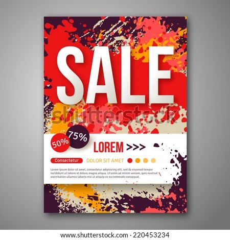 Vector Sale Poster Template Watercolor Paint Stock Vector (Royalty