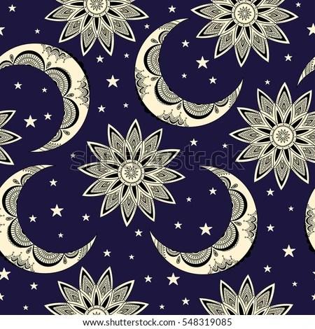 Vector Seamless Pattern Vintage Moon Sun Stock Vector (Royalty Free