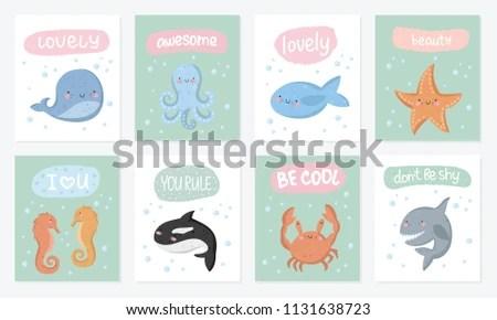 Vector Set Cute Postcards Funny Sea Stock Vector (Royalty Free