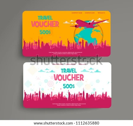 Vector Set Gift Travel Voucher Template Stock Vector (Royalty Free