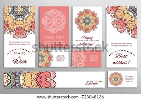 Vector Set Greeting Cards Wedding Invitations Stock Vector (Royalty