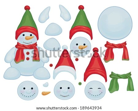Vector Snowman Template Make Own Snowman Stock Vector (Royalty Free