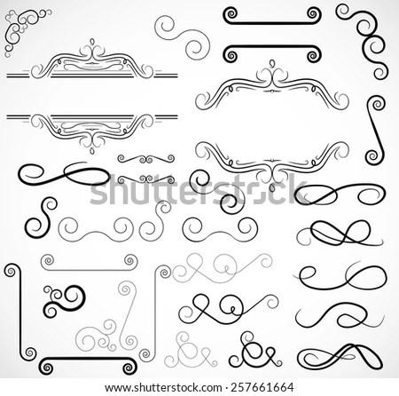 Vector Swirl Scroll Border Frame Elements Stock Vector (Royalty Free