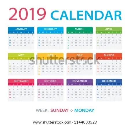 Vector Template Color 2019 Calendar Sunday Stock Vector (Royalty