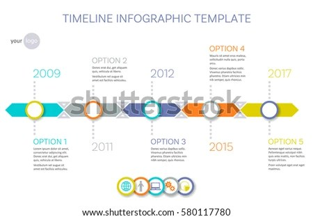 Vector Timeline Infographic Template History Your Stock Vector