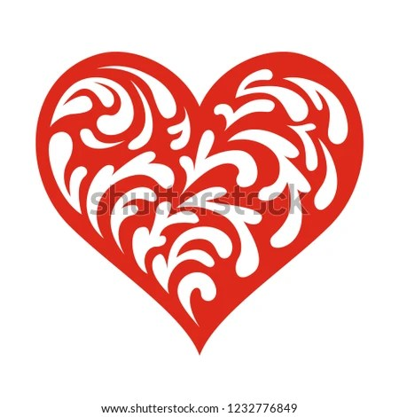 Vector Tracery Heart Template Stencil Laser Stock Vector (Royalty