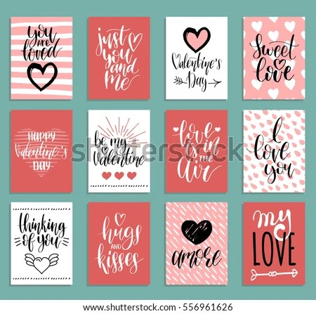 Vector Valentines Day Cards Templates Hand Stock Vector (Royalty