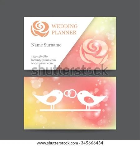 Vector Vintage Wedding Business Card Template Stock Vector (Royalty