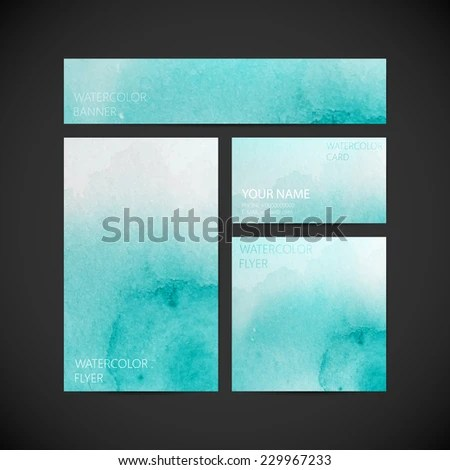 Vector Visual Corporate Identity Azure Paint Stock Vector (Royalty