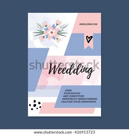Vector Wedding Brochure Blank Template Front Stock Vector (Royalty