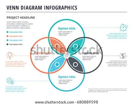 Venn Diagram 4 Circles Infographics Template Stock Vector (Royalty