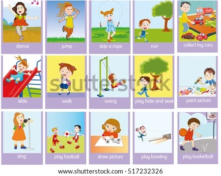 Verbs Action Pictures Colorful Cartoon Stock Vector (Royalty Free