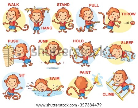 Verbs Action Pictures Cute Monkey Character Stock Vector (Royalty