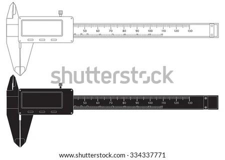 Vernier Caliper Digital Electronic Tool Vector Stock Vector (Royalty