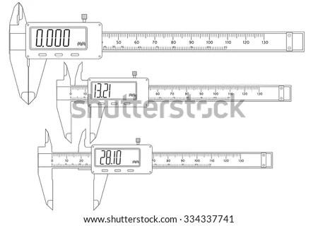 Vernier Caliper Digital Electronic Vector Isolated Stock Vector