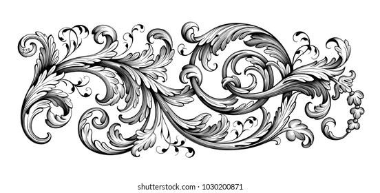 Baroque Pattern Images, Stock Photos  Vectors Shutterstock - baroque scroll designs