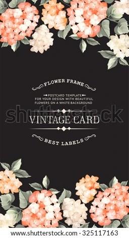 Vintage Card Wedding Invitation Template Black Stock Vector (Royalty