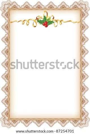 Vintage Christmas Page Holly Gold Ribbon Stock Vector (Royalty Free