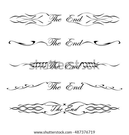 Vintage Dividers The End Word Stock Vector (Royalty Free) 487376719