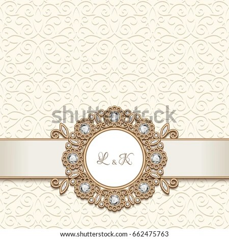 Vintage Gold Jewelry Background Antique Jewellery Stock Vector