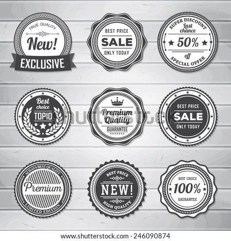 Vintage Labels Template Set Retro Badges Stock Vector (Royalty Free