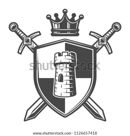 Vintage Medieval Heraldic Coat Arms Template Stock Vector (Royalty