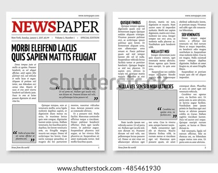 Vintage Newspaper Journal Vector Template Paper Stock Vector